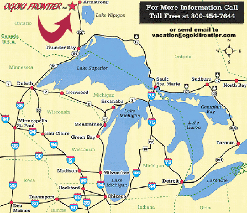 Planning A Hunting Or Fishing Trip In Ontario - Us highway 61 map