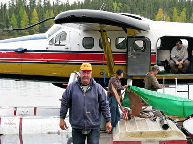 Fishing and Hunting parties at dockside to board Float Plane
